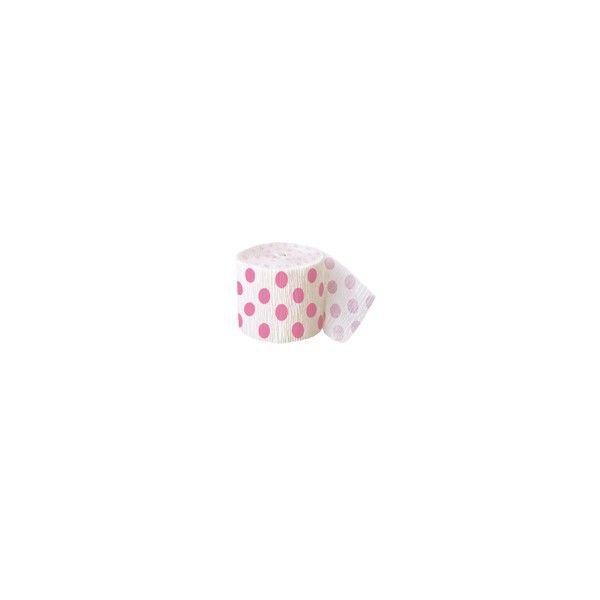 Kreppband mit Punkten weiss/rosa, 9m