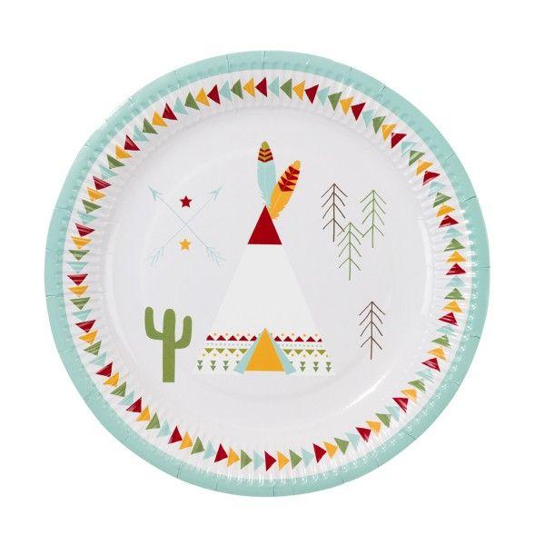 Pappteller Indianer, ø 23cm, 12 Stück