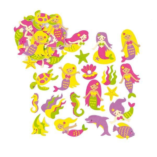 Moosgummi-Aufkleber Meerjungfrauen, 120 Stück