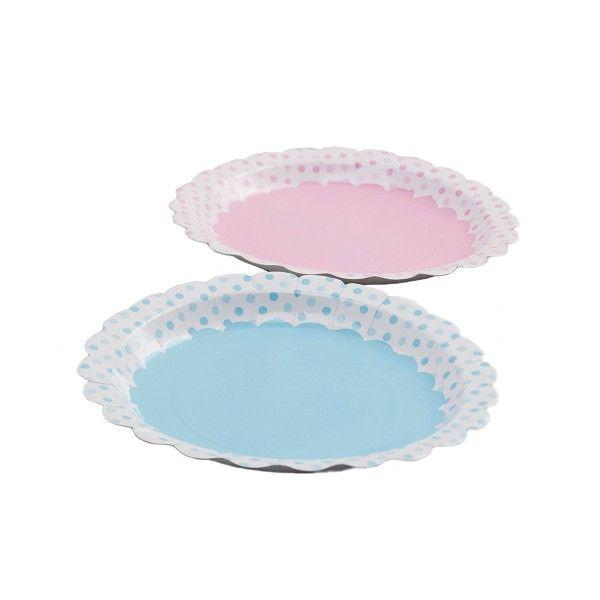Pappteller mit Punkten rosa/hellblau, ø 23cm, 8 Stück