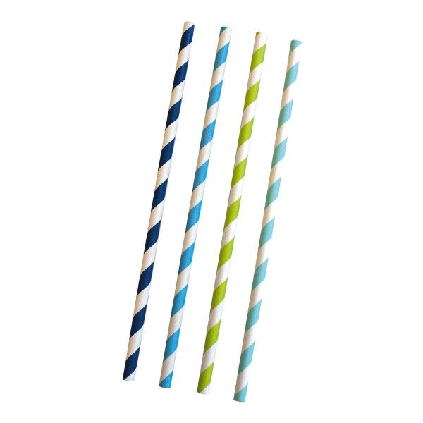 Strohhalme, gestreift blau/wei