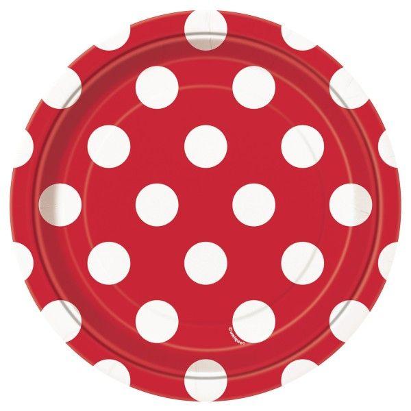 Pappteller Punkte, rot,  18cm, 8 St