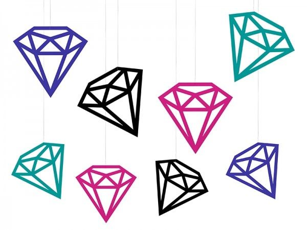 Hängedekoration Diamanten, 8 Stück