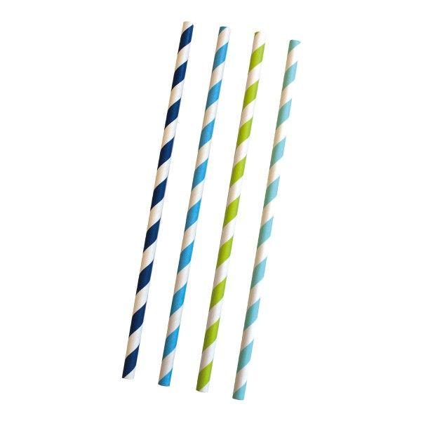 Strohhalme, gestreift blau/weiß, 24 Stück