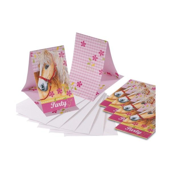 Einladungskarten mit Umschlag Pferde, 6 Stück
