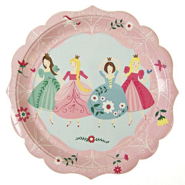 Pappteller Prinzessin, Ø 23cm, 12 Stück