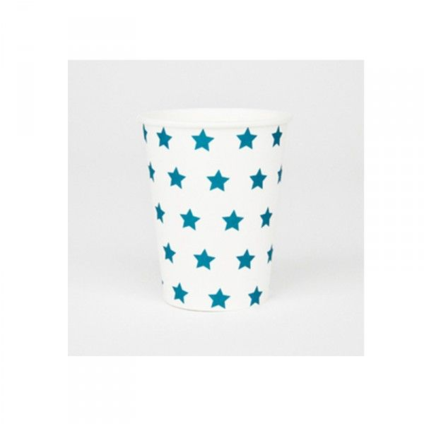 Pappbecher-Sterne-blau-8-Stueck-neu
