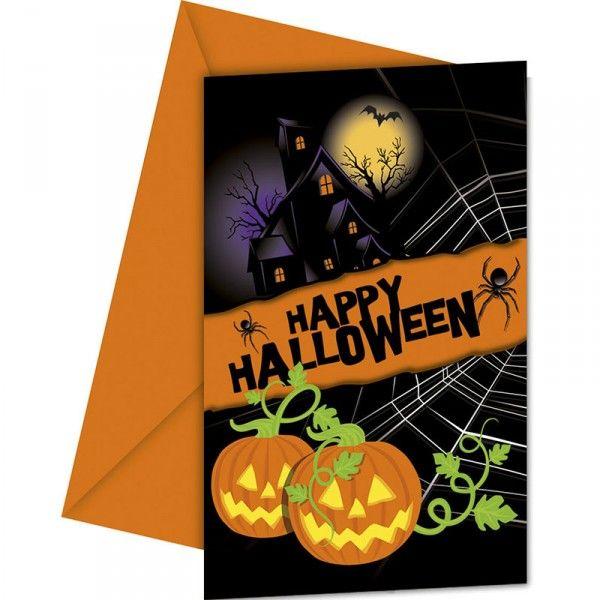 Einladungen mit Umschlag Halloween, 6 Stück
