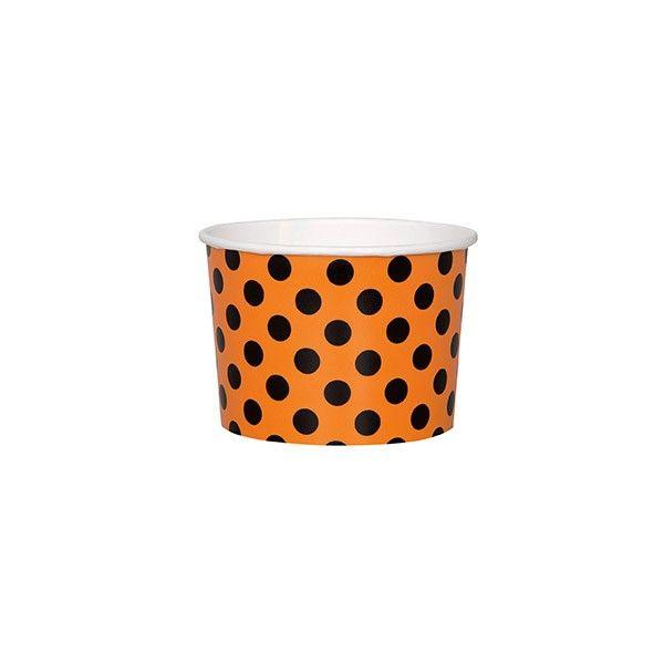 Eis- und Naschbecher Halloween, Punkte orange/schwarz, 8 St