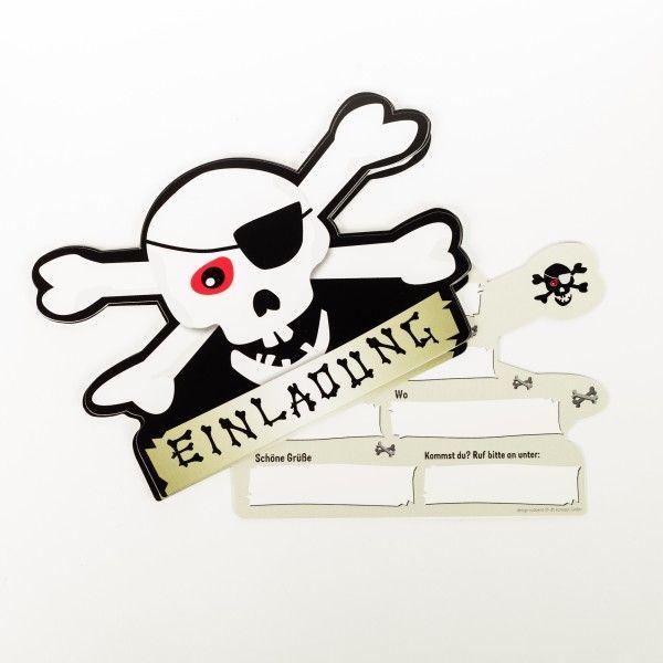 Einladungskarten Pirat, 6 Stück