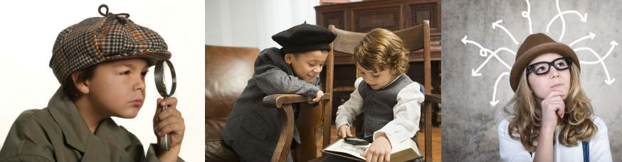 Die Hinweise lassen nur eine Vermutung zu: die Detektivfeier beginnt. • Fotos: Mitte: Image Source / Getty Images; MAST,  drubig-photo / Fotolia.com