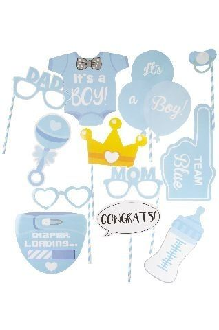 Photo Props Set Babyshower Jungen, 12-teilig