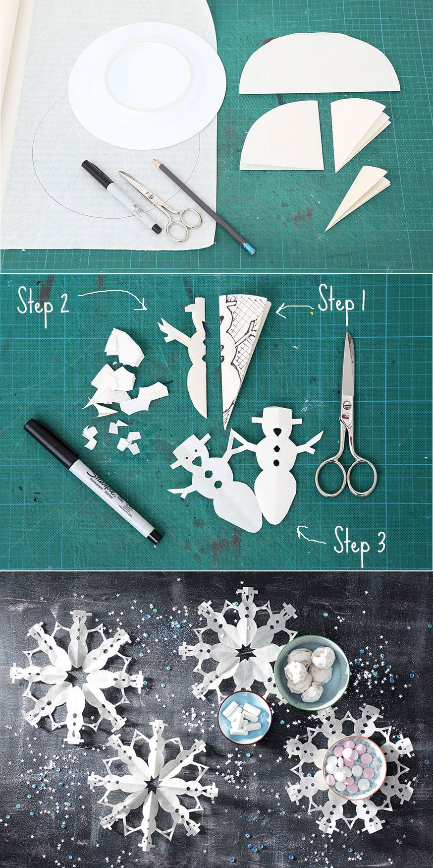 Die Schneemann-Schneeflocken sind hübsche Untersetzer für die Frozen-Geburtstagstafel.  • Umsetzung und Foto: Thordis Rüggeberg