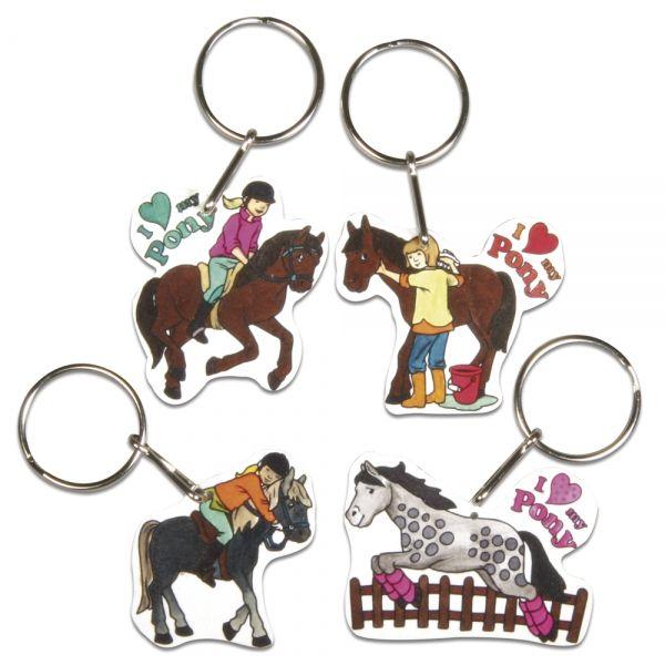 Schrumpffolien-Set Pferde, 4 Motive mit Schlüsselring, 8-teilig