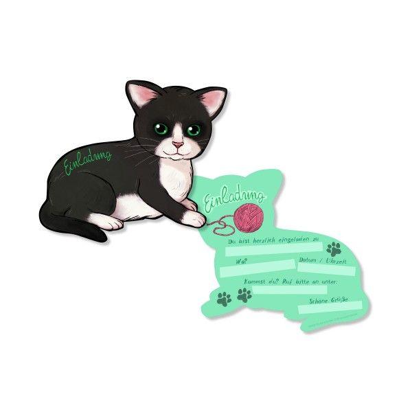 Einladungskarten Katze, 6 St