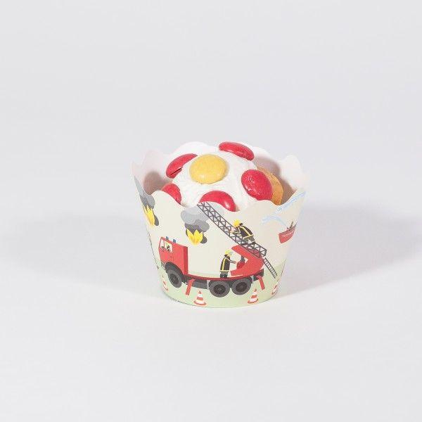 Deko-Banderolen für Muffins und Cupcakes Feuerwehr, 12 Stück