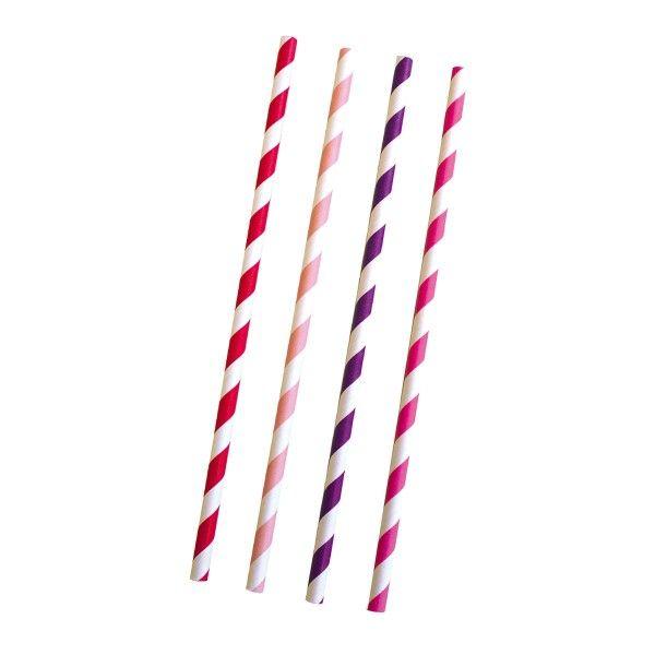 Strohhalme, gestreift pink/weiß, 24 Stück