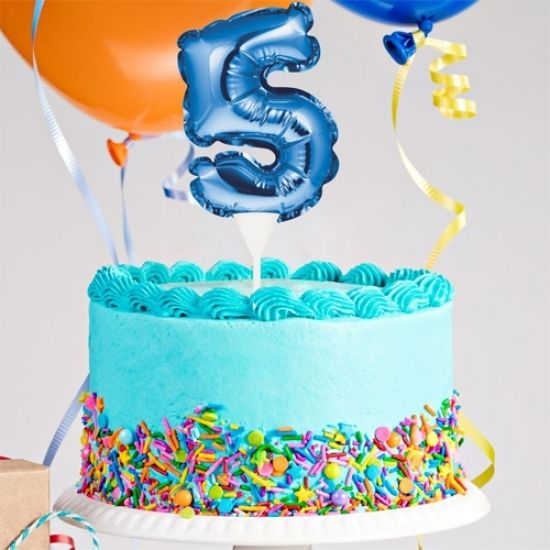 Kuchenpicker Folienballon Zahl 5 in Blau, 22 cm klein, selbstaufblasend, 1 Stück