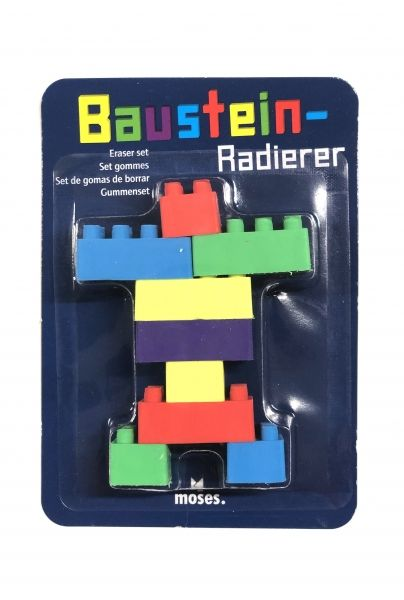 Radiergummi-Set Bausteine, 9 teilig