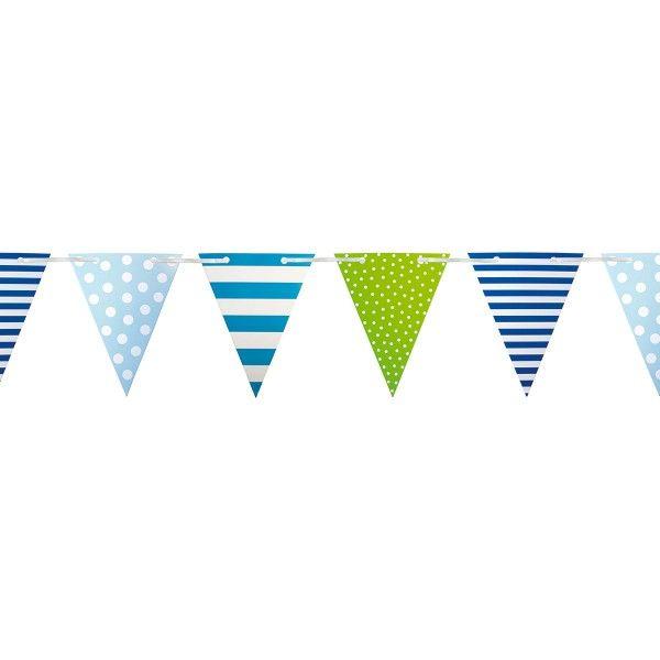 Wimpelkette gestreift/gepunktet, blau, 4,5m